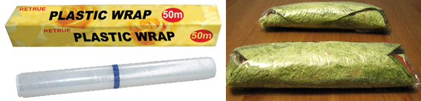 "Standard plastic or ""cling"" wrap wraps wraps well."