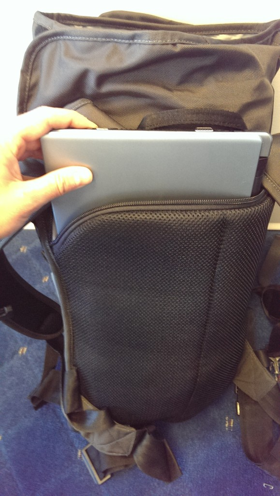 Padded laptop sleeve rests against your back